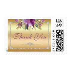 Thank You Diamond Watercolor Flowers Gold Postage