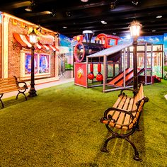 How about an indoor park with astroturf and all!  Themed environments with an edge for kids, youth, and adults.