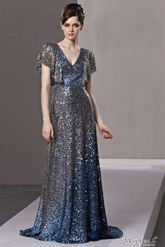 Dark Silver Sequined V-neck Chiffon  Ball Gown Long Evening Dress