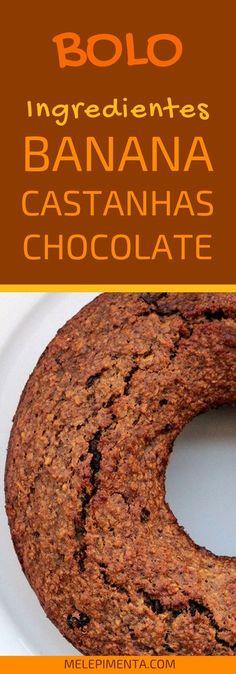 Bolo de banana com castanhas e chocolate sem farinha - Prepare em casa esse bolo fácil, saudável e simplesmente delicioso. Essa receita é feita com castanhas, aveia, banana e gotas de chocolate.