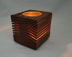 Large Wood Candle Holder  Centerpiece and by LoganSquareWoodworks
