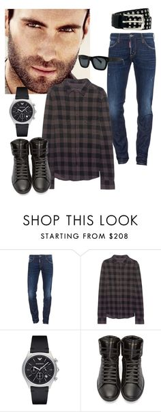 """""""Adam Levine"""" by buggybug076 ❤ liked on Polyvore featuring Adam Levine, Dsquared2, True Religion, Emporio Armani, Yves Saint Laurent, River Island, men's fashion and menswear"""
