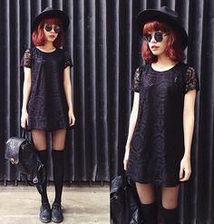 phen h. Lookbook. Black lace dress with retro glasses, black hat, thigh high socks.