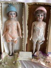 "AMAZING Pair of 13"" Simon Halbig 1159 Boxed Flapper Dolls"