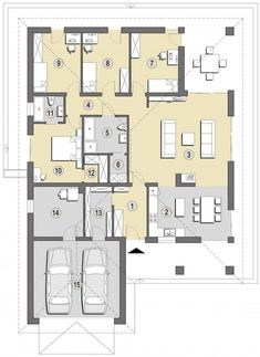 Projekt domu SD Patagonia D CE - DOM - gotowy koszt budowy Family House Plans, Bedroom House Plans, Home Design Floor Plans, House Floor Plans, Single Storey House Plans, Circle House, Modern Bungalow House, Tiny Apartments, Cottage Design
