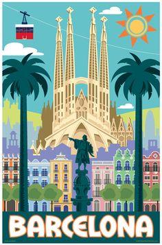 Etsy の Barcelona Retro Travel Poster Print by RedRobotCreative