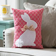 Add a trendy Spring splash of color to your Easter display with our Pink Quatrefoil Bunny Pillow. Bright and stylish, it's a great Easter accent. Cute Pillows, Baby Pillows, Throw Pillows, Easter Projects, Easter Crafts, Easter Gift, Easter Decor, Easter Bunny, Easter Pillows