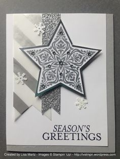 by Lisa Martz features Stampin Up's Bright and Beautiful stamp set with coordinating star framelits