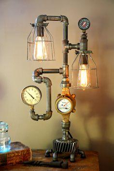 Steam Gauge Plumbing Lamp - SOLD