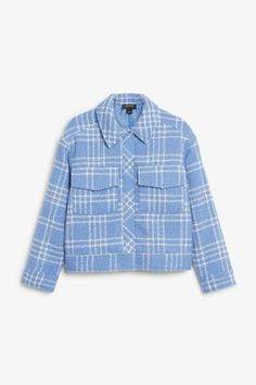 Bouclé jacket - Blue and white checks - Coats & Jackets - Monki SE Summer Outfits, Cute Outfits, Boucle Jacket, Teen Vogue, Utility Jacket, Colorful Fashion, Monki, Blazer, My Style