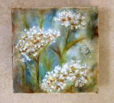 Original encaustic painting  Yarrow mixed by EncausticsbyGretchen