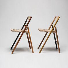 Silla de acero por Reinier de Jong hecha de palos de escoba de madera
