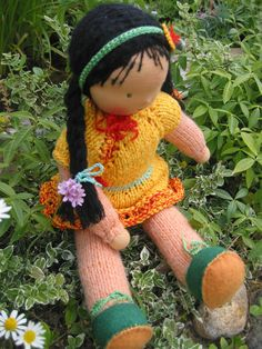 Waldorf type girl doll / dressable via Etsy Girl Dolls, Doll Clothes, Crochet Necklace, Type, Hair, Gifts, Etsy, Waldorf Dolls, Presents