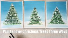 Learn three different brush techniques for how to paint snowy Christmas trees. Use a fan brush, round brush or bright brush. Beginner acrylic painting tutorial on ! Acrylic Painting For Beginners, Simple Acrylic Paintings, Acrylic Painting Tutorials, Step By Step Painting, Painting Videos, Diy Painting, Beginner Painting, Painting Trees, Winter Painting