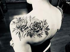 Rose shoulder tattoo in black & shading # rose shoulder tattoos . - Rose shoulder tattoo in black & shading - Tattoo Femeninos, Cover Tattoo, Leg Tattoos, Black Tattoos, Body Art Tattoos, Henna Tattoos, Mandala Tattoo, Cute Shoulder Tattoos, Back Of Shoulder Tattoo