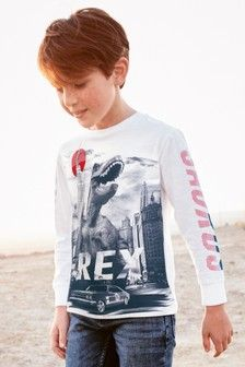 84b0143a4f0c Buy White Tyrannosaurus Rex Printed T-Shirt from the Next UK online shop