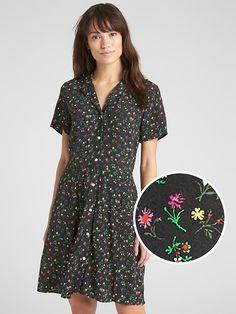 5146cf54d7 Gap Womens Fit And Flare Button-Front Floral Print Dress Black Floral  Jumpsuit Dress