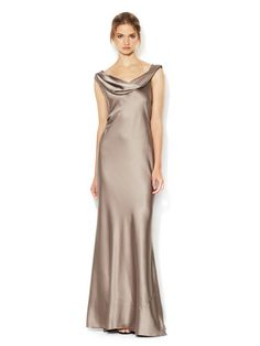 Cowl Neck Lace Inset Silk Gown by Vera Wang