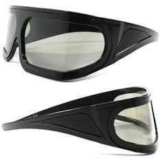 Costume Party Rave Anime Novelty Futuristic Black Wrap Shield Visor Sun Glasses #KISS #Futuristic