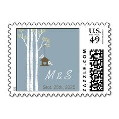 Birdhouse in the Birch Trees Postage Stamps