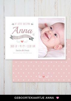 Geboortekaartje Anna van charlyfine.nl #geboortekaartje meisje #babykaart #baby card