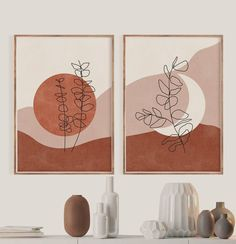 Mitte Jahrhundert moderne Kunst Terrakotta Sonne und Mond | Etsy Wal Art, Diy Canvas Art, Simple Canvas Paintings, Small Canvas Art, Large Wall Art, Mid Century Modern Art, Art Moderne, Watercolor Art, Art Drawings
