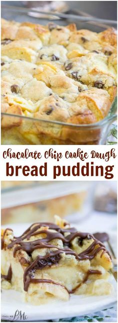 Chocolate Chip Cookie Dough Bread Pudding is indulgent meets comfort in this easy yet rich and satisfying dessert! Bread Puddings, Bread Pudding Recipes, Easy Bread Pudding, Chocolate Chip Bread Pudding, Chocolate Chip Cookie Brownies, Brownie Pudding, Pudding Cookies, Dessert Chocolate, Pudding Desserts