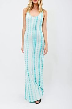 Jade and white tie-dye sleeveless racerback jersey maxi dress. Slip on a pair of your gold wedge sandals and a gold bangle to complete the look!  Jersey Maxi Dress by BRANDED. Clothing - Dresses San Diego California