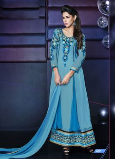 An A Semi Stitched Layered Classic Blue Floor Length Dress  #anarkalisuits