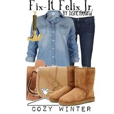 """Fix-It Felix Jr."" by lalakay on Polyvore - didn't realize there's a name for my style"