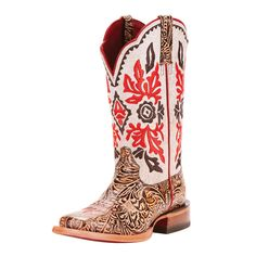Our ladies Ariat brown tooled with white top cowgirl boot are fun and functional. These boots will get you from point A to point B in style and comfort. Cowgirl Boots, Western Boots, Western Wear, Tin Haul Boots, Jungle Boots, Wedding Boots, Tall Riding Boots, Square Toe Boots, Motorcycle Boots