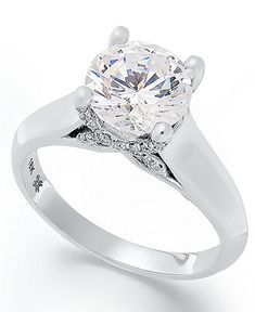 Diamond Ring, 18k White Gold Certified Diamond X3 Solitare Engagement Ring (2 ct. t.w.) - Rings - Jewelry & Watches - Macy's