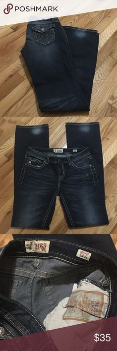 MEK Chicago bootcut jeans Dark blue was MEK Chicago bootcut jeans size 28 inseam 34. Perfect condition no rips,tears,stains or holes. Does have manufacturer distressing on left hip and back of leg cuffs as well as back poster flaps and name patch MEK Jeans Boot Cut