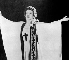 Part I. Aimee Semple McPherson (1890-1944) The 1920's evangelist - once widowed, twice divorced - whose largest following was in Los Angeles, California. She employed her beauty and personal magnetism in carefully staged extravaganzas, using show business techniques, sound and lighting and costumed pageantry, and massed choirs to promote her Foursquare Gospel Creed.