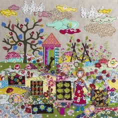 Appliqué picture by lucy levenson designs Art Wool Applique, Applique Patterns, Applique Quilts, Applique Designs, Freehand Machine Embroidery, Free Motion Embroidery, Embroidery Applique, Motifs D'appliques, Costura Diy