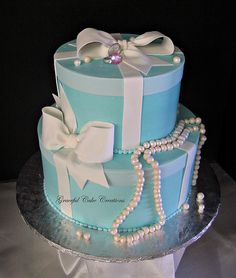 Tiffany Blue Gift Box Bridal Shower Cake