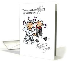 DJ Wedding Reception Thank You With Stick Figures Card