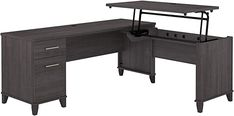 Amazon.com: Bush Furniture Somerset 3 Position Sit to Stand L Shaped Desk, 72W, Storm Gray: Home & Kitchen Electric Standing Desk, Sit To Stand, L Shaped Desk, Home Office Desks, Somerset, Home Kitchens, Ikea, Gray, Amazon