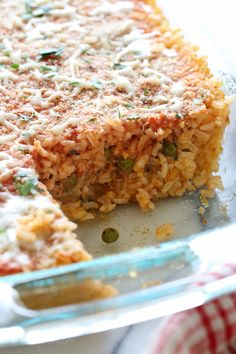Sicilian Rice Ball Casserole –everything you love about arancini made into an easy casserole for weeknight dinners. Freezer friendly and kid-friendly!
