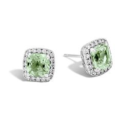 John Hardy Classic Chain Green Amethyst & Diamond Stud Earrings ($1,100) ❤ liked on Polyvore featuring jewelry, earrings, john hardy jewelry, diamond jewelry, diamond jewellery, john hardy and chains jewelry