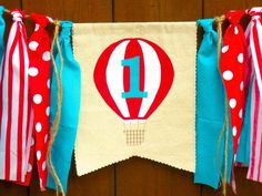 Hot Air Balloon Birthday Banner Highchair High by SeacliffeCottage #circus #party #countyfair