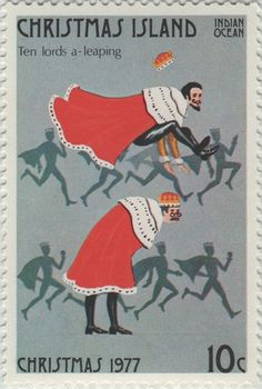 ◙ Christmas Island, Postage Stamp, The Twelve Days of Christmas, Lords a Leaping. Twelve Days Of Christmas, Christmas Cards, Australian Painting, Commemorative Stamps, Catholic Kids, Christmas Island, Vintage Stamps, Stamp Collecting, Conte