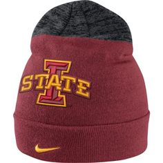 89431cd4 Nike Men's Iowa State Cyclones Cardinal/Grey Sideline Beanie, Team Knit Hat  For Men