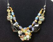 Cluster Bead glitzy double strand necklace