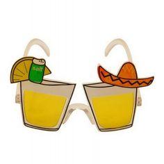 Novelty shot glasses with sombrero. Fancy Dress Glasses, Cool Glasses, Fancy Dress Accessories, Party Accessories, Beach Sunglasses, Mirrored Sunglasses, Mexican Fancy Dress, Novelty Sunglasses, Mexican Night