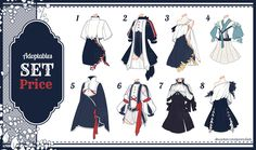[Adopt Auction] Fantasy Outfits 29 [ OPEN ] by QuinnyIlada on DeviantArt Fashion Design Drawings, Fashion Sketches, Character Outfits, Character Art, Moda Lolita, Drawing Anime Clothes, Manga Clothes, Clothing Sketches, Anime Dress