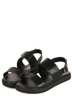 Sandalias de plataforma correa -negro-Spanish SheIn(Sheinside)