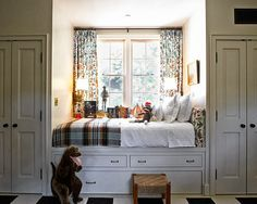cute built-in nook & closets for kids room