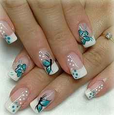 Hot Trendy Nail Art Designs that You Will Love Spring Nail Art, Nail Designs Spring, Gel Nail Designs, Spring Nails, Nails Design, Summer French Nails, Fingernail Designs, Butterfly Nail Designs, Butterfly Nail Art