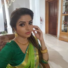 In a parrot green color saree and elbow length sleeve blouse design Beautiful Bollywood Actress, Beautiful Indian Actress, Beautiful Actresses, Saree Hairstyles, Braided Hairstyles, Beautiful Girl Image, Beautiful Bride, Velvet Saree, Celebrity Selfies